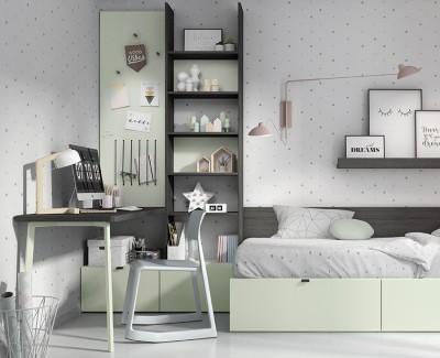 Bureau avec étagères et 2 tiroirs