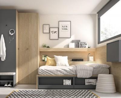 Chambre jeune avec lit compact, armoire d'angle et bureau rabattable