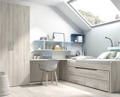 Chambre ado avec lit gigogne avec 2 tiroirs, armoire et bureau avec étagères