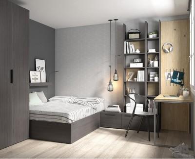 Chambre ado avec lit compact avec coffre, bureau avec étagères, et armoire à portes battantes