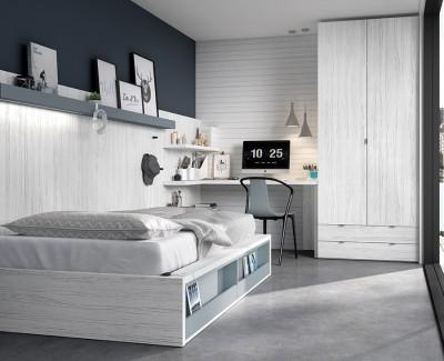 Chambre jeune avec lit compact, armoire à portes battantes et bureau