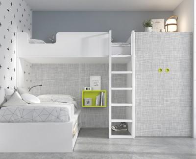 Chambre avec lit superposé et armoire à 2 portes battantes