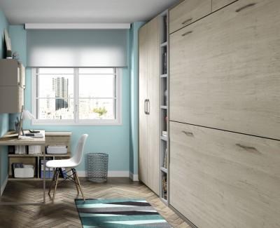Chambre ado composée de lit superposé escamotable, armoire, étagères et bureau