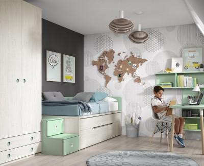 Chambre ado composée de lit compact, armoire et bureau