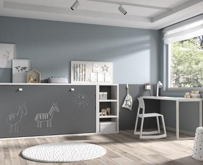 Chambre enfant avec lit escamotable avec etagère et bureau
