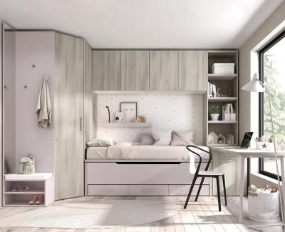 Chambre enfant avec lit gigogne avec tiroirs, armoire d'angle, armoire pont, bureau avec étagères, et meuble de finition avec miroir
