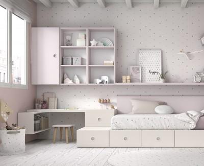 Chambre enfant avec lit compact, bureau, tiroirs et étagères