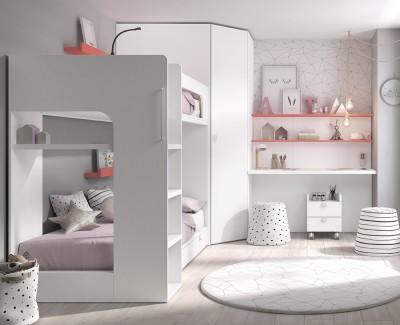 Chambre avec lit superposé, armoire d'angle et bureau avec étagères