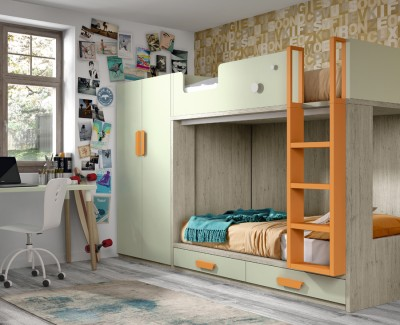 Chambre enfant composée de lit superposé, armoire et bureau