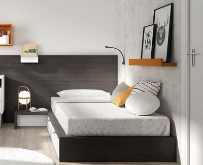 Lit tatami avec 2 tiroirs, tête de lit, et table de chevet