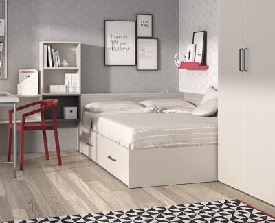 Lit compact avec coffre, 2 tiroirs, et tête de lit avec rangement