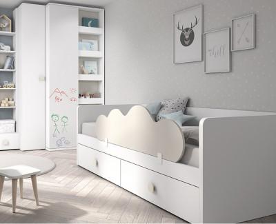 Lit compact avec tiroirs et barrière de sécurité