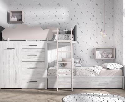 Lit superposé avec lit tiroir, armoire amovible et 4 tiroirs