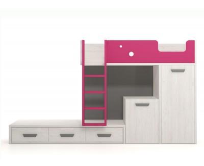 Lit superposé avec bureau et armoire amovible