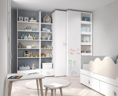 Meuble à étagères avec tiroirs
