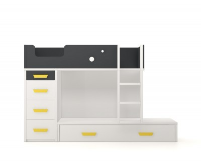 Lit superposé avec lit d'appoint et 4 tiroirs