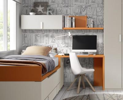 Bureau avec étagères et module de rangement amovible