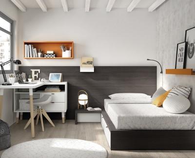 Chambre ado avec lit tatami avec 2 tiroirs, et bureau avec espace de rangement