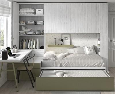 Chambre ado avec lit compact, armoire et armoire pont, étagère de finition et bureau