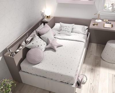 Chambre ado avec lit compact, armoire d'angle et bureau