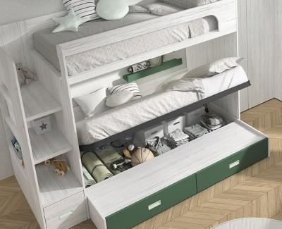 Chambre avec lit superposé avec 3 tiroirs, bureau avec 4 tiroirs, armoire d'angle et meuble à étagères