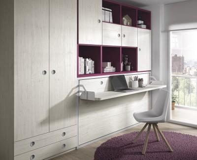 Chambre ado composée de lit escamotable, armoire et étagères