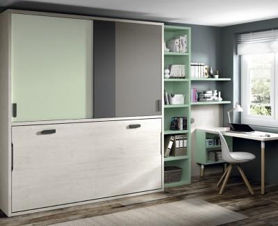 Chambre ado composée de lit escamotable, étagère, bureau et armoire