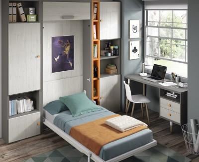 Chambre composée de lit escamotable, bureau et étagères