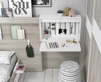 Chambre enfant avec lit simple avec tiroir et tête de lit, armoire à portes coulissantes et bureau rabattable