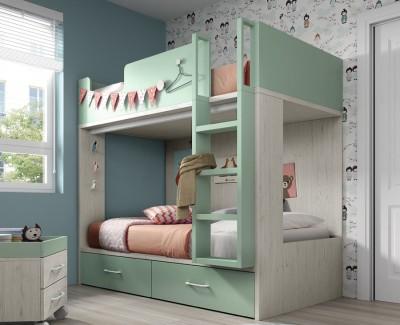 Chambre enfant composée de lit superposé et armoire à portes battantes