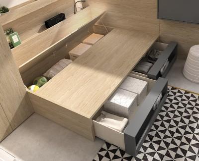 Lit compact avec coffre et 2 tiroirs-étagères