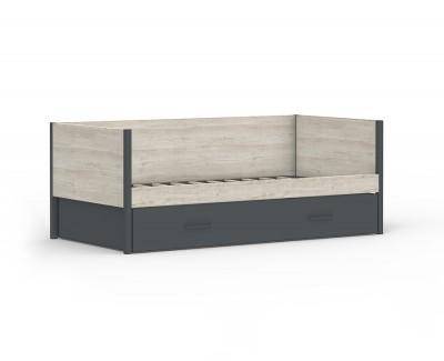 Canapé-lit avec deux oreillers tapissés
