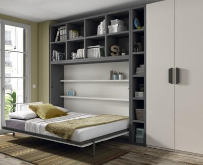 Chambre composée de lit escamotable, armoire et étagères