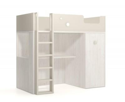 Lit mezzanine avec bureau et armoire amovible