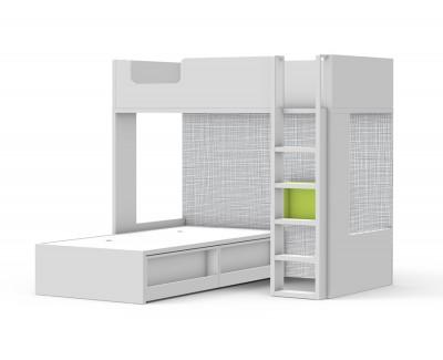 Lit superposé avec lit compact avec tiroirs porte-revues