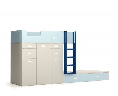Lit superposé avec deux bureaux et étagère amovibles