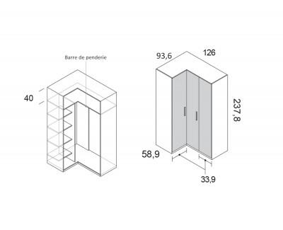 Armoire d'angle avec portes pliantes