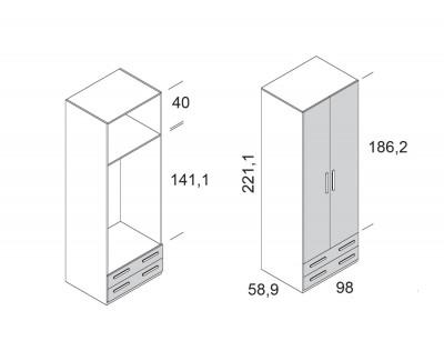 Armoire à portes battantes avec 2 tiroirs