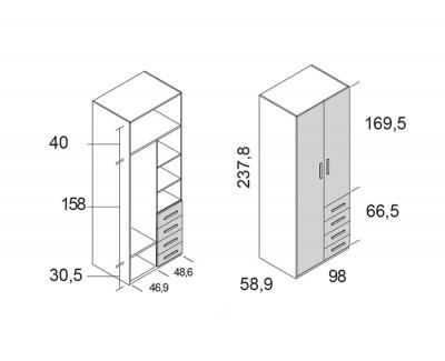 Armoire à 2 portes battantes et 4 tiroirs
