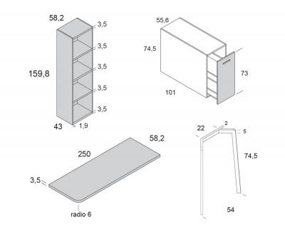 Bureau avec étagères et meuble de rangement extractible