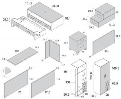 Chambre enfant avec lit gigogne, armoire et bureau avec caisson à 2 tiroirs