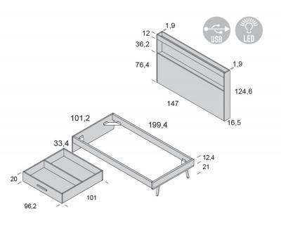 Lit simple avec tiroir de rangement et tête de lit avec étagère porte-revues