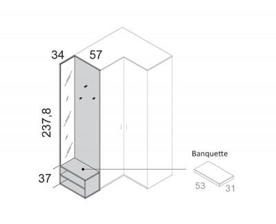 Meuble de finition avec miroir, patères et meuble à 2 étagères